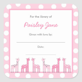 Pink Giraffe Bring a Book Baby Shower stickers