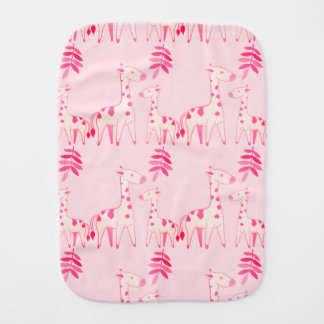 Pink Giraffe Burp Cloth