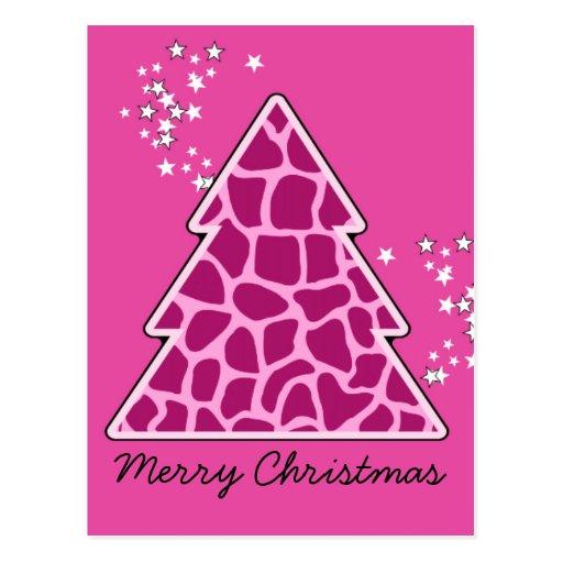 Pink giraffe Christmas Tree Post Card