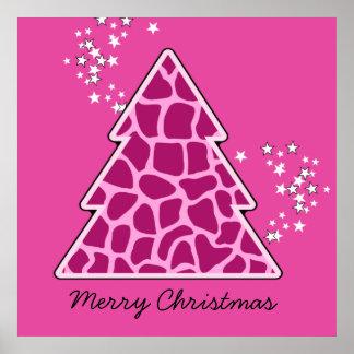 Pink giraffe Christmas Tree Posters