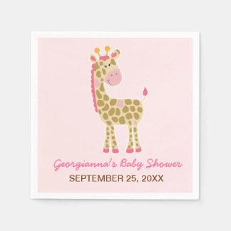 Pink Giraffe Customized Baby Shower Napkin Disposable Napkins