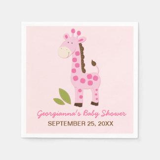 Pink Giraffe Customized Baby Shower Napkin Paper Napkin