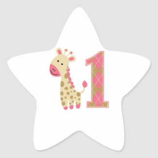 Pink Giraffe First Birthday Star Sticker