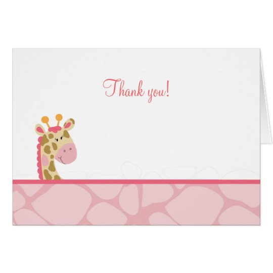 Pink Giraffe Folded Thank you Note Card