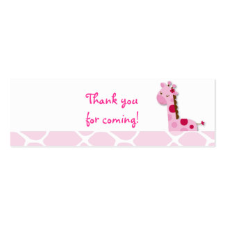 Pink Giraffe Girl Favor Gift Tags Pack Of Skinny Business Cards