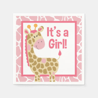 Pink Giraffe It's a Girl Baby Shower Napkins Disposable Serviette