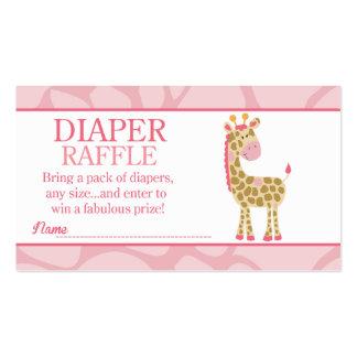 Pink Giraffe Jungle Jill Baby Shower Diaper Raffle Pack Of Standard Business Cards