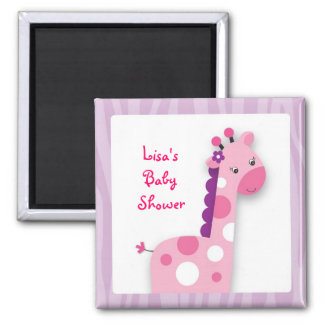 Pink Giraffe Jungle Party Favor Magnets