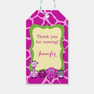 Pink giraffe jungle safari animal girl gift tags