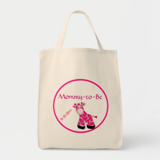 Pink Giraffe Mommy To Be Baby Shower Grocery Tote Bag