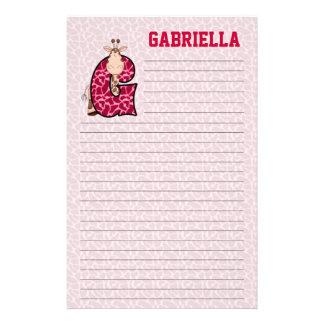 """Pink Giraffe Mongrammed """"G"""" Girl's Lined Stationery"""
