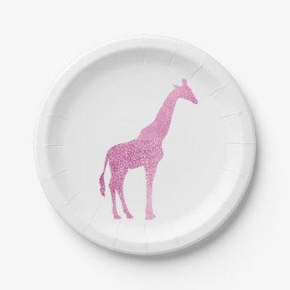 Pink Giraffe Paper Plate