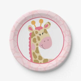 Pink Giraffe Paper Plate 7 Inch Paper Plate