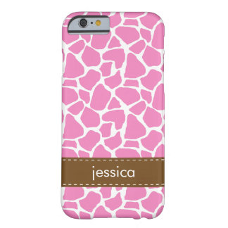 Pink Giraffe Pattern Barely There iPhone 6 Case