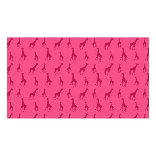 Pink giraffe pattern business card template