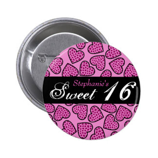 Pink giraffe pattern hearts Sweet 16 Button