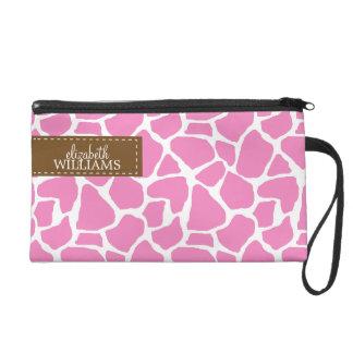 Pink Giraffe Pattern Wristlet Purses