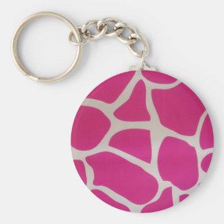 Pink Giraffe Print Basic Round Button Key Ring