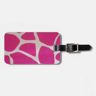Pink Giraffe Print Luggage Tag