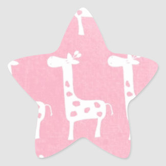 pink giraffe print star sticker