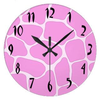Pink Giraffe Print Wall Clock