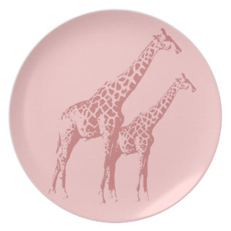 Pink Giraffe Sketch Party Plate