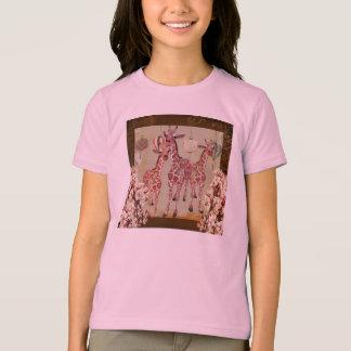 Pink Giraffes Cherry Blossom Twilight  T-shirt