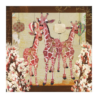 Pink Giraffes Cherry Jubilee Canvas Stretched Canvas Print