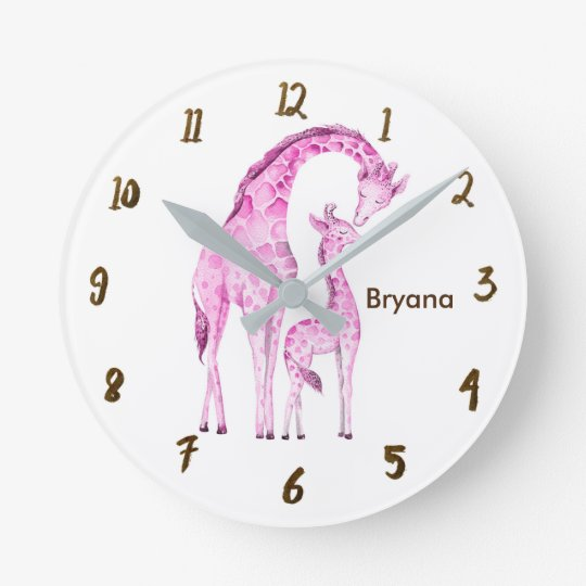 Pink Giraffes Jungle Nursery Room Personalised Round Clock