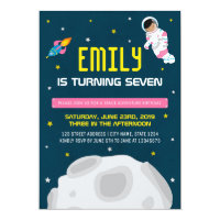 Pink Girl Astronaut Space Birthday Invitation