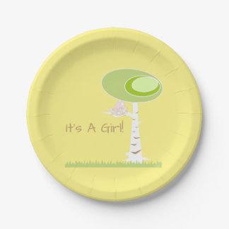 Pink Girl Baby Shower Modern Nature Paper Plate 7 Inch Paper Plate