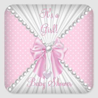 Pink Girl Baby Shower Pearl Polka Dots Square Sticker