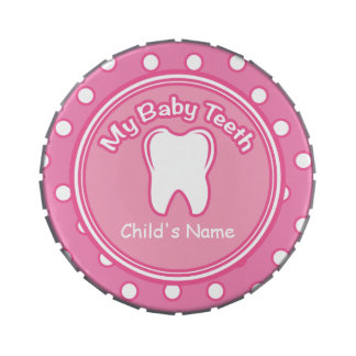 Pink Girl Baby Tooth Fairy Tin Jelly Belly Candy Tin