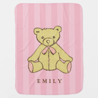 Pink Girl Bear Personalized Baby Blanket