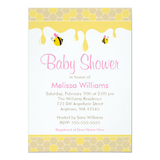 Pink Girl Bumble Bee Honey Baby Shower Invitations