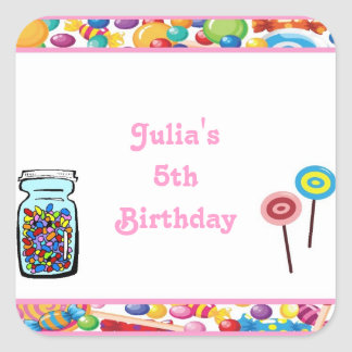 Pink Girl Candy Shop Birthday Party Favor Labels Square Sticker