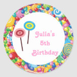 Pink Girl Candy Shop Birthday Party Favour Labels Round Stickers