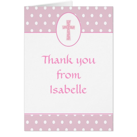Pink Girl Cross Baptism Thank You Note Card