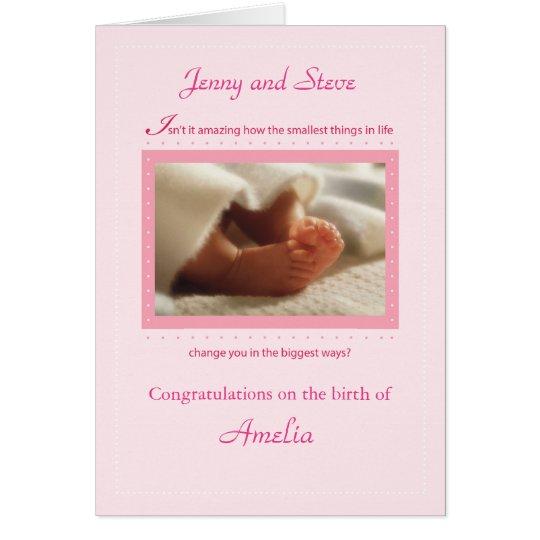 Pink Girl Custom Personalise Congratulations Baby Card