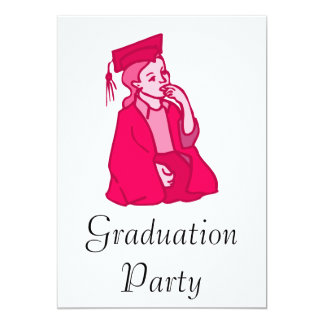 Pink Girl Grad Personalized Invitation