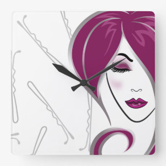 Pink girl hair- Salon clock