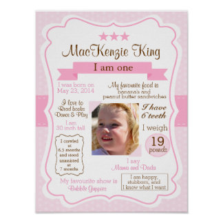 Pink Girl one year sign for your birthday girl