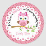 Pink Girl Owl Party Thank You Round Stickers