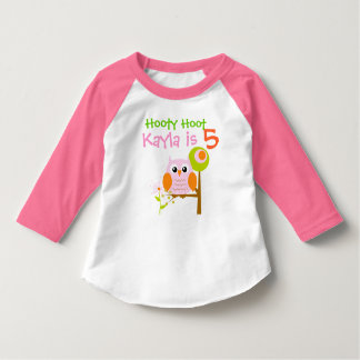 Pink Girl Owl Personalized Birthday T-shirt