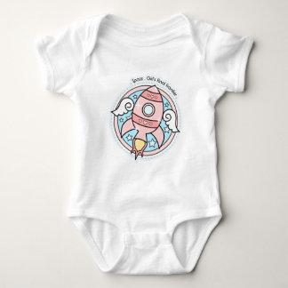 Pink Girl Rocketship Baby Bodysuit