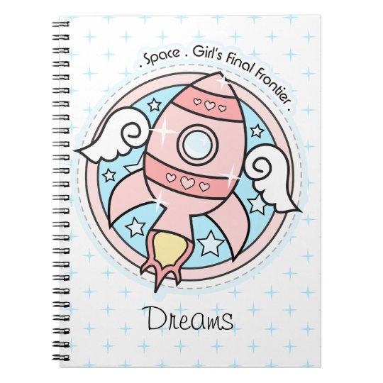 Pink Girl Rocketship Notebook