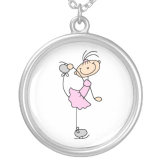 Pink Girl Stick Figure Ice Skater Silver Plated Necklace