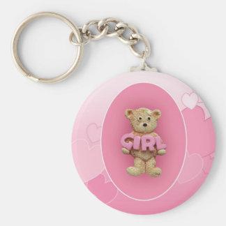 Pink Girl Teddy Bear Basic Round Button Key Ring