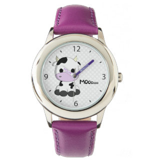 Pink girl watch with cute cow cartoon