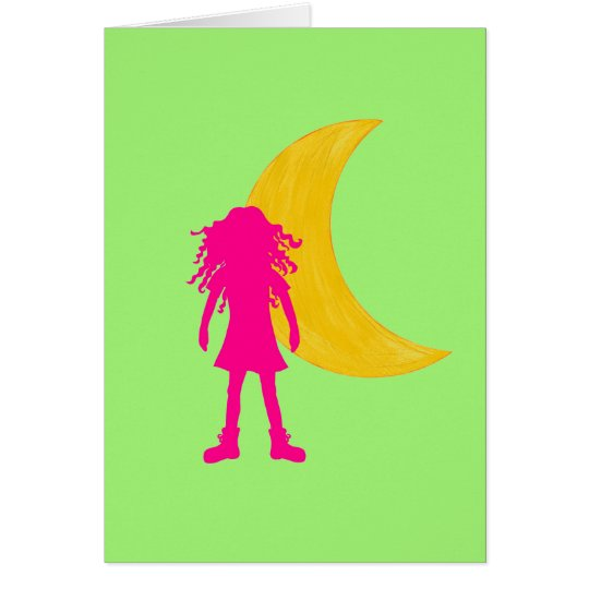 Pink girl with long curly hair and the moon card